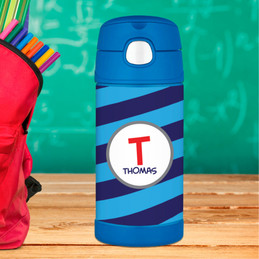 Fun Initials - Blue Thermos Bottle
