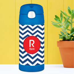 Custom Water Bottles with Navy and Red Chevron