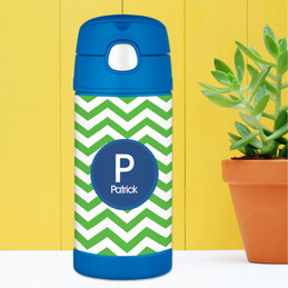 Chevron Green and Blue Thermos Bottle