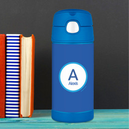A Linen Blue Letter Thermos Bottle