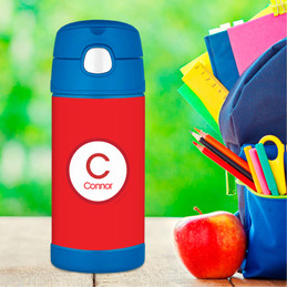 Kids Water Bottles with A Linen Red Letter
