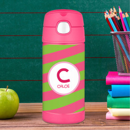 Personalized water bottles for kids with Pink Initials