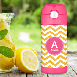Mustard & Pink Chevron Thermos Bottle