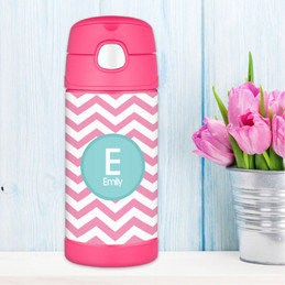 Pink & Aqua Chevron Thermos Bottle