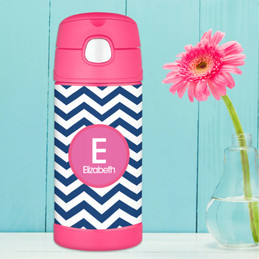Blue and Pink Chevron Thermos Bottle