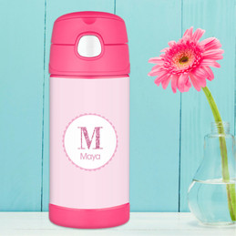 A Shiny Pink Letter Thermos Bottle