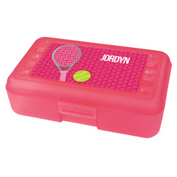 pink tennis racquet and ball pencil box for kids