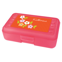 preppy orange flowers pencil box for kids