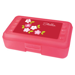 preppy red flowers pencil box for kids
