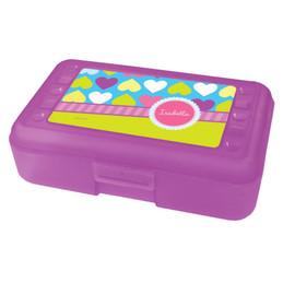 Happy Hearts Personalized Pencil Box