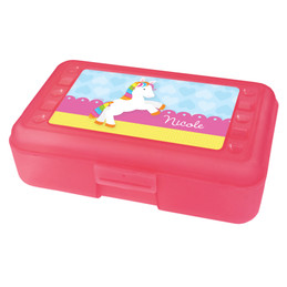 Cute Rainbow Pony Personalized Pencil Box
