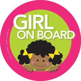 Girl African American Baby On Board Sticker