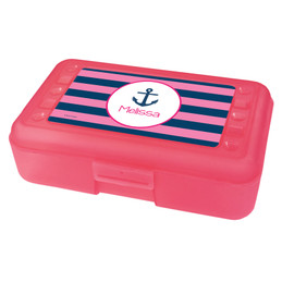 pink and navy anchor pencil box for kids