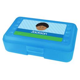 Just Like Me Boy Light Blue Personalized Pencil Box