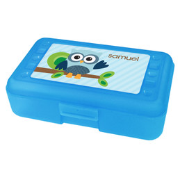 Owl Be Yours Blue Personalized Pencil Box