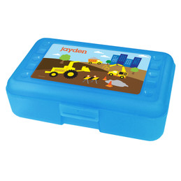 Construction Site Personalized Pencil Box