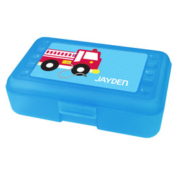 Cool Fire Truck Personalized Pencil Box