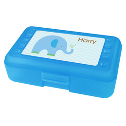 Blue Baby Elephant Personalized Pencil Box