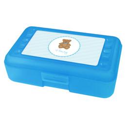 Cute Blue Teddy Bear Personalized Pencil Box