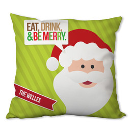 Eat, Drink & Be Merry Personalized Pillow