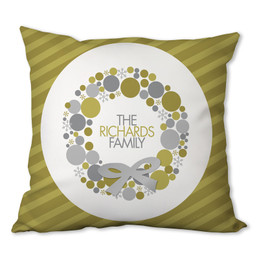 A Golden Xmas Wreath Personalized Pillow