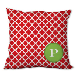 Elegance in Red Quatrefoil Personalized Pillow