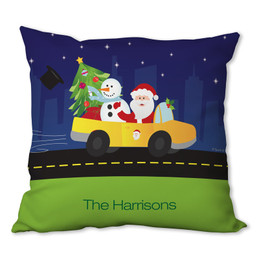 Santa in his Cool Ride Personalized Pillow