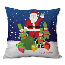 Santa and Elfs Personalized Pillow