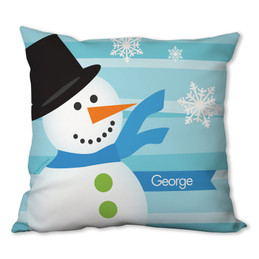 Blue Mr. Snowman Personalized Pillow