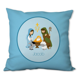 Nativity Set on Blue Personalized Pillow