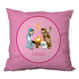 Nativity Set on Pink Personalized Pillow