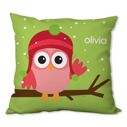 Xmas Baby Pink Owl Personalized Pillow