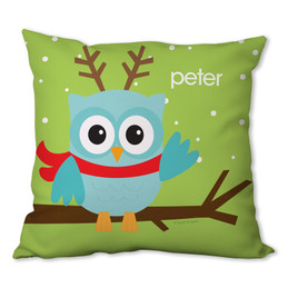 Xmas Baby Blue Owl Personalized Pillow