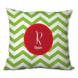 Green Xmas Chevron Personalized Pillow
