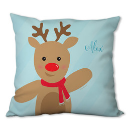 Sweet Reindeer on Blue Personalized Pillow