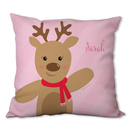 Sweet Reindeer on Pink Personalized Pillow