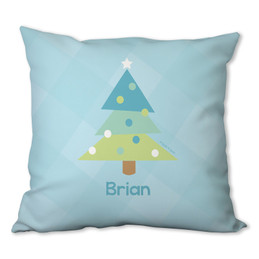 Modern Blue Xmas Tree Personalized Pillow