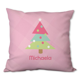 Modern Pink Xmas Tree Personalized Pillow