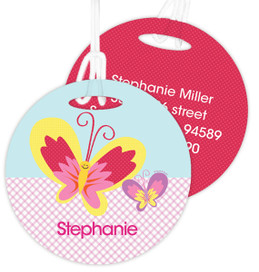 Smiley Butterfly Kids Luggage Tags