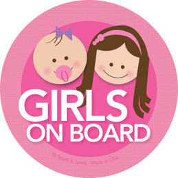 Baby on Board Car Decal with Brunette Girls | Spark & Spark