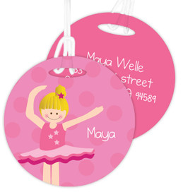 Love For Ballet Blonde Girl Luggage Tags For Kids