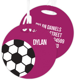 Soccer Fan Purple Kids Luggage Tags
