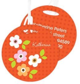 Preppy Flowers Orange Kids Bag Tags