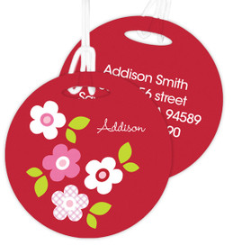 Preppy Flowers Red Kids Luggage Tags