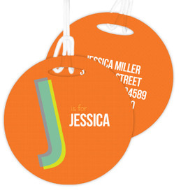 Double Initial Orange Luggage Tags For Kids