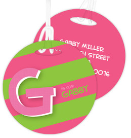 Double Initial And Stripe Pink Kids Luggage Tags