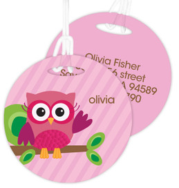 Owl Be Yours Pink Luggage Tags For Kids