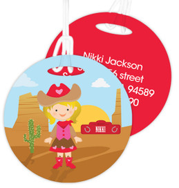 Blonde Cowgirl Kids Luggage Tags