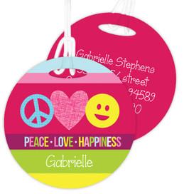 Peace & Love Signs Kids Bag Tags