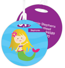 Cute Blonde Mermaid Kids Luggage Tags